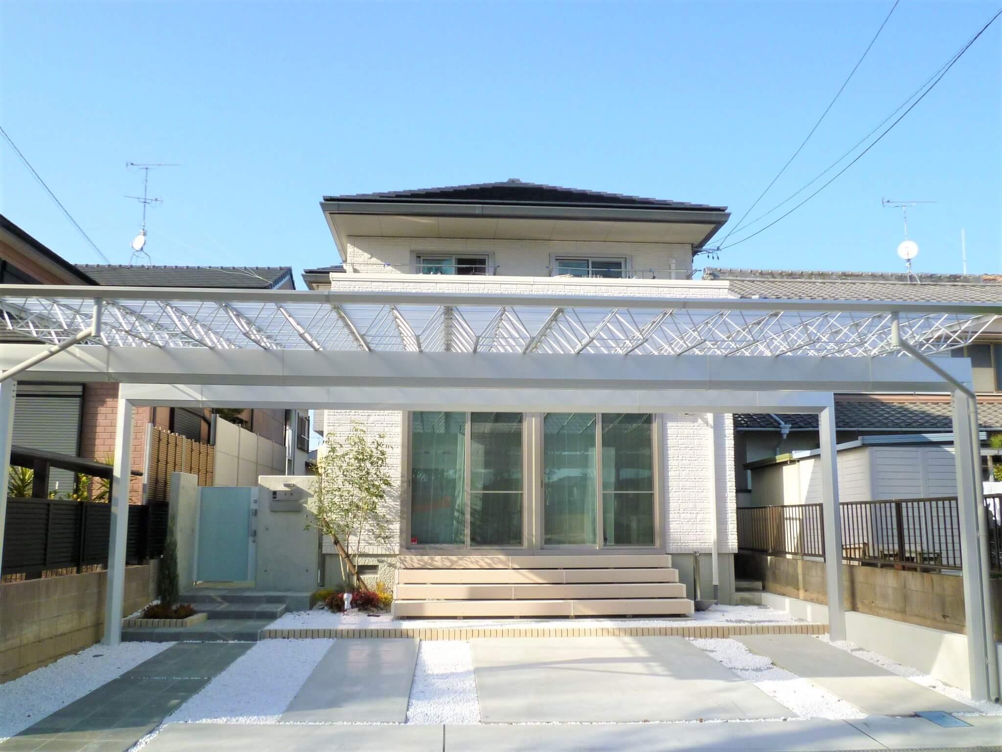 岡崎市エクステリア外構ホワイトで統一された清楚なナチュラルモダン外構